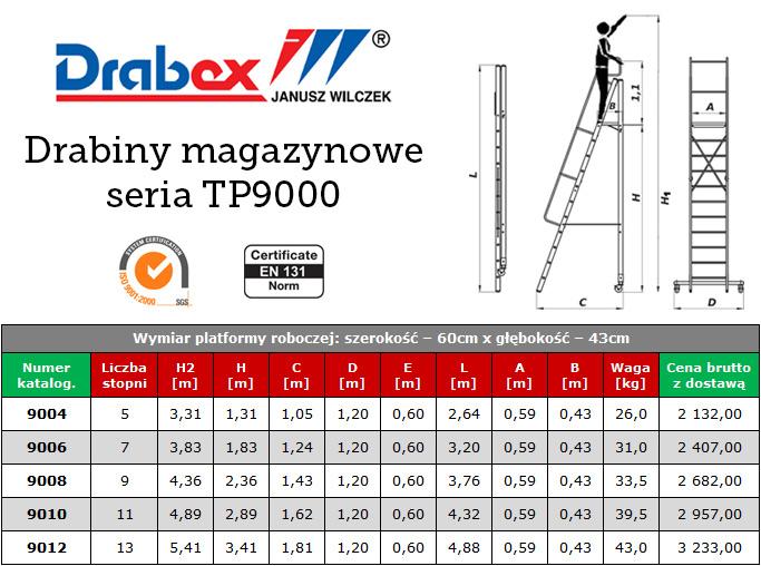 drabiny magazynowe drabex TP 9000