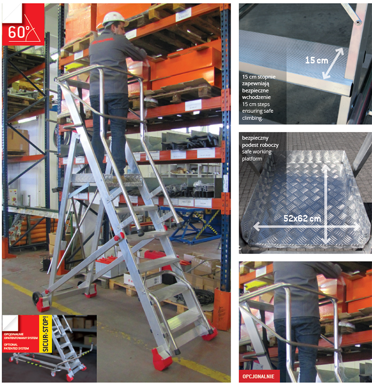 Drabina magazynowa FARAONE 250/SMT - 3,74m