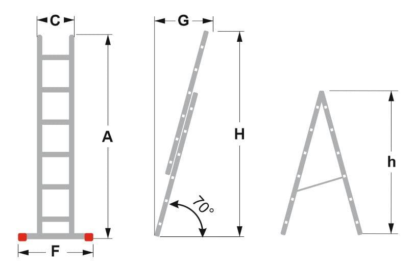 Drabina aluminiowa 2-elementowa ALOSS