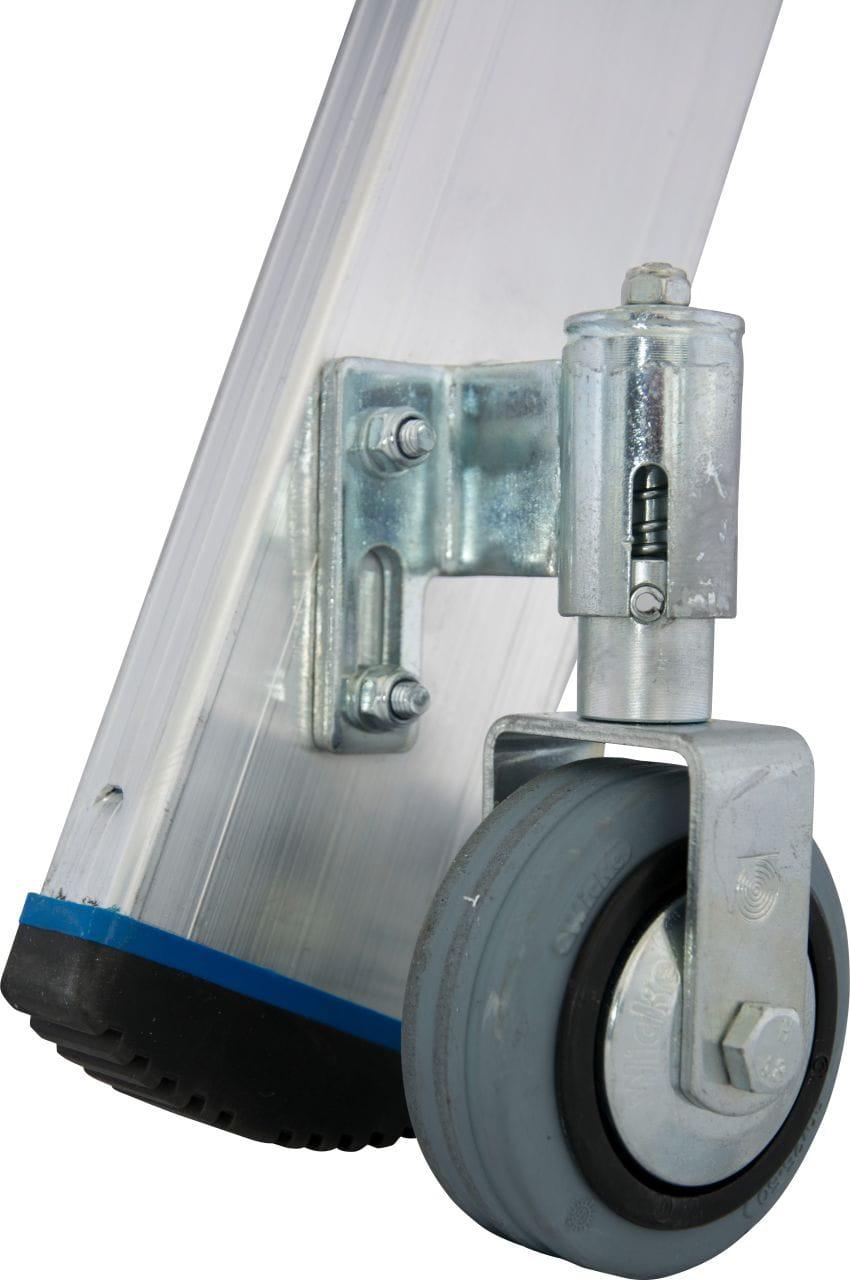 Drabina wolnostojąca aluminiowa jezdniowa 1x10 z kółkami