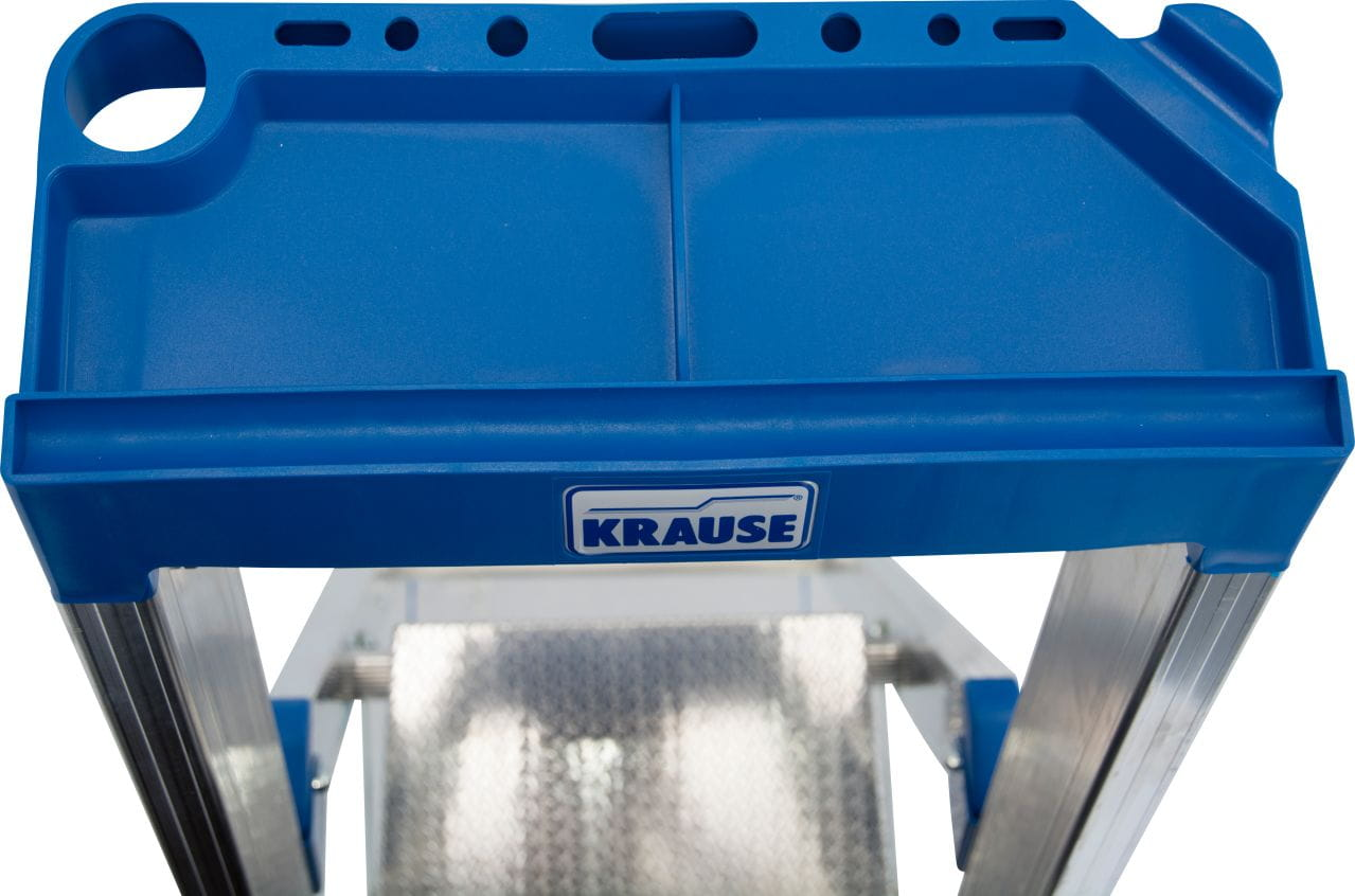 Aluminiowa drabina wolnostojąca KRAUSE funkcjonalna półka